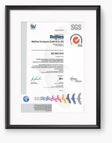 Matthies Zertifikat 2018 - Qualität
